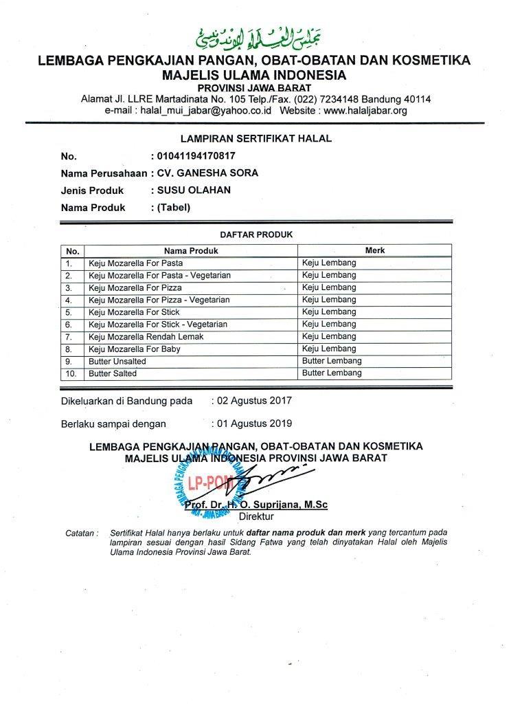 2017 Sertifikat Halal - Lampiran